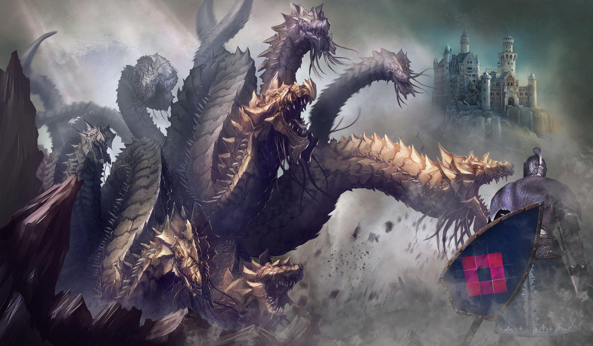 Cavaler cu logo COmplete Media Grup pe scut, care se lupta cu un dragon